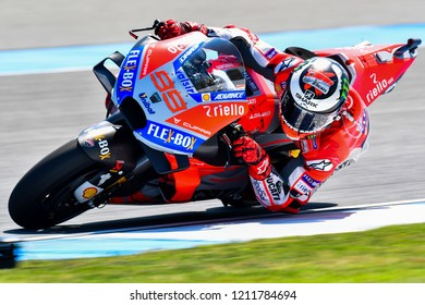 Jorge Lorenzo of Spain and Ducati Team in action during the Free Practice The PTT Thailand Grand Prix - MotoGP at Chang International Circuit on October 5, 2018 in Burirum ,Thailand
