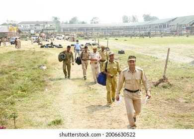Jorhat,Assam,India-26 March 2021: Security personnel leave for their respective polling station ahead of the first phase of Assam assembly polls, in  Jorhat.