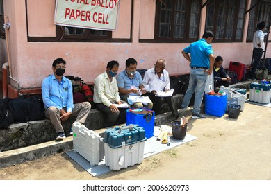 Jorhat,Assam,India-26 March 2021:Election officials carry electronic voting machines (EVM) and other materials to reach their destination polling stations on the eve of the Assam Assembly election.