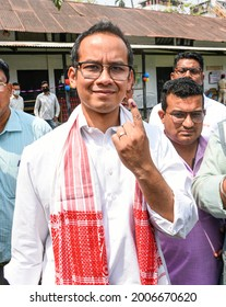 Jorhat,Assam,India-27 March 2021: Congress MP Gourav Gogoi shows his finger marked with indelible ink after casting his vote in  Jorhat.