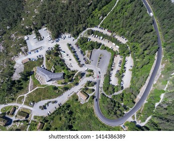 JORPELAND, NORWAY-CIRCA JUL, 2018: Preikestolvegen asphalt road passes to parking area and tourist center of Pulpit Rock, Rogaland. Top view. Start point of hiking route to Preacher's Pulpit