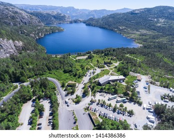 JORPELAND, NORWAY-CIRCA JUL, 2018: Pulpit Rock parking area is on Preikestolvegen, Rogaland. Panorama with information center and lake. Start point of hiking route to Preacher's Pulpit