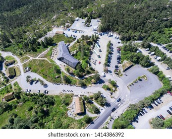 JORPELAND, NORWAY-CIRCA JUL, 2018: Pulpit Rock parking space is on Preikestolvegen, Rogaland municipality. View from above at main house and roads. Start point of hiking route to Preacher's Pulpit