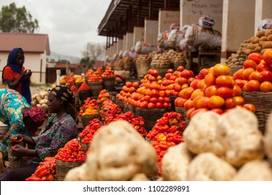 Jos, Plateau State Nigeria- May 19,2018: Fresh fruits and vegetables an the Farmers market