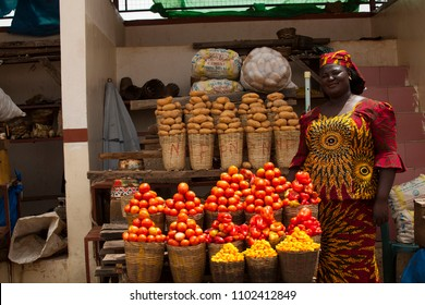 Jos, Plateau State, Nigeria- May 20,2018: African women selling farm produce at the farmers market