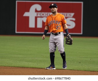 Jose Altuve 2nd baseman for the Houston Astros at Chase Field in in Phoenix AZ USA August 15,2017.