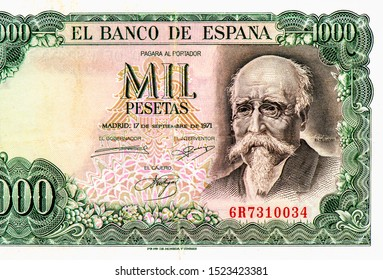 Jose Echegaray. portrait from Spain 1000 Pesetas 1971 Bank Notes. An Old paper banknotes, vintage retro. Famous ancient Banknotes Spain money, Closeup Uncirculated - Collection.