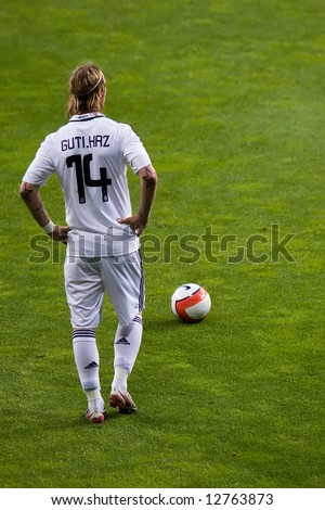 d3acbc1da Jose Maria Gutierrez Hernandez (Guti) preparing for a free kick during a  football (