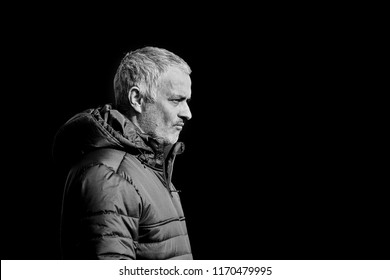 "Jose Mourinho, coach of ""Manchester United"" on the pitch before the match 1/8 finals of the Europa League between FC ""Rostov"" and ""Manchester United"", 08 March 2017 in Rostov-on-Don, Russia."