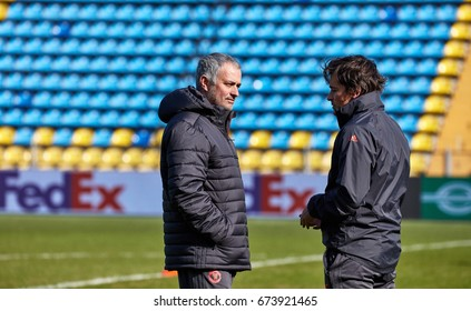 """Jose Mourinho, coach of """"Manchester United"""" on the pitch before the match 1/8 finals of the Europa League between FC """"Rostov"""" and """"Manchester United"""", 08 March 2017 in Rostov-on-Don, Russia."""