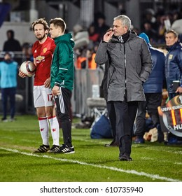 """Jose Mourinho, emotions during a match. Game moments in match 1/8 finals of the Europa League between FC """"Rostov"""" and """"Manchester United"""", 09 March 2017 in Rostov-on-Don, Russia."""