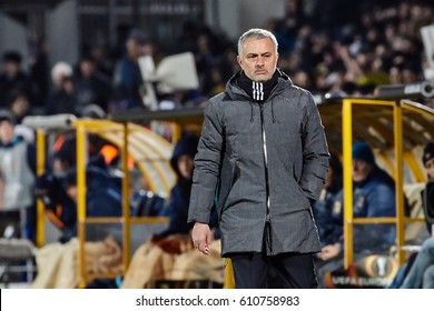"Jose Mourinho, Game moments in match 1/8 finals of the Europa League between FC ""Rostov"" and ""Manchester United"", 09 March 2017 in Rostov-on-Don, Russia."