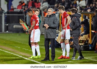 """Jose Mourinho, Game moments in match 1/8 finals of the Europa League between FC """"Rostov"""" and """"Manchester United"""", 09 March 2017 in Rostov-on-Don, Russia."""
