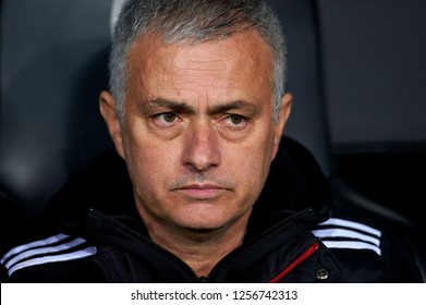 Jose Mourinho of Manchester United during the match between Valencia CF and Manchester United at Mestalla Stadium in Valencia, Spain on December 12, 2018.