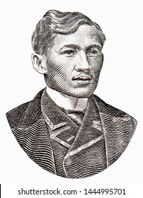 Jose Rizal portrait from old Philippine money,  2 piso 1896 Banknote from Philippines. Philippines national hero for his action during the Spanish colonial era. Closeup Collection.