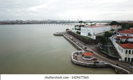 jose sarney bridge and palacio dos leoes, historical building in sao luis do maranhao, brazil