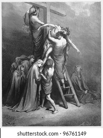 Joseph of Arimathea brings brings Jesus down from the cross - Picture from The Holy Scriptures, Old and New Testaments books collection published in 1885, Stuttgart-Germany. Drawings by Gustave Dore.