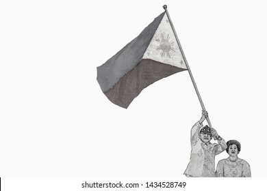 """Joseph """"Erap"""" Ejercito Estrada president waved a flag to celebrate the National Day at the Aguinaldo Memorial. on 2000 Philippine Peso banknote in 1998. Philippines money Pesos. Closeup Collection."""
