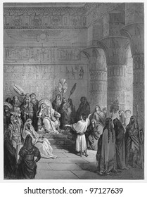 Joseph interprets Pharaoh's dream - Picture from The Holy Scriptures, Old and New Testaments books collection published in 1885, Stuttgart-Germany. Drawings by Gustave Dore.
