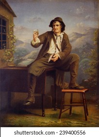 Joseph Jefferson (1829-1905), American actor, in scene from the play, RIP VAN WINKLE. 'Dis von don't count!' says Rip as he drinks the liquor that makes him sleep for 20 years. ca.1875.