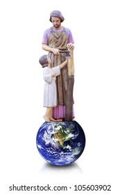 Joseph and Jesus isolated : Elements of this image furnished by NASA