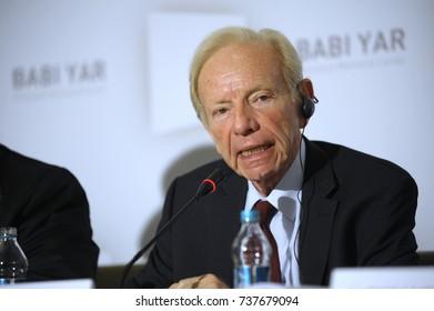 "Joseph Lieberman, former United States Senator, keeping speech during press-conference devoted to Memorial center of Holocaust ""Babi Yar"". October 19, 2017. Kyiv, Ukraine."