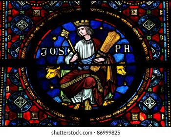 Joseph (son of Jacob), mentioned in Genesis Stained glass window in the Notre Dame church of Dinant, Belgium.