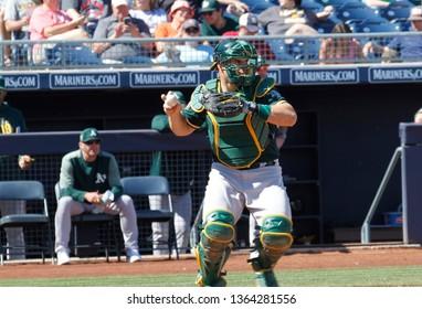 Josh Phegley  catcher for the Oakland Athletics at Peoria Sports Complex in Peoria, Arizona/USA March 12,2019