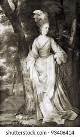 "Joshua Reynolds ""Portrait of Mrs. Elizabeth Karnak."" Reproduction from illustrated Encyclopedia ""Treasures of art"", Partnership «Prosvesheniye», St. Petersburg , Russia , 1906"