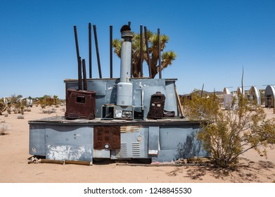Joshua Tree, California, USA - 28th April, 2013: Noah Purifoy's Outdoor Desert Art Museum of Assemblage Sculpture created in the high desert of Joshua Tree