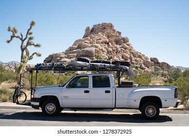 Joshua Tree National Park, California, USA, January 4, 2019:  A Pickup truck in the campground in Joshua Tree National Park