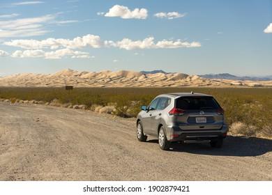Joshua Tree National Park, California - November 2, 2017: View of a grey 2017 Nissan Rogue in the desert.