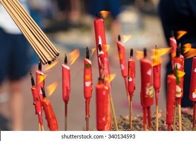 Joss stick burning at Kwong Tong cemetary, a chinese burial site at Kuala Lumpur, Malaysia during qingming or tomb sweeping day.