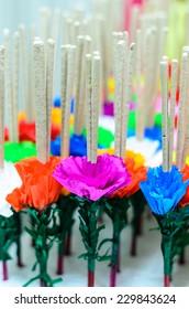 joss stick decorate with paper flower,craft