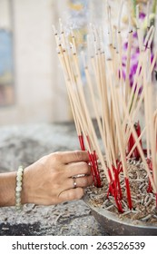 joss stick pot at the graveyard,Thailand