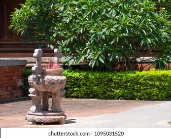 Joss stick pot the Lam Kinh temple in Xuan Lam and Lam Son townlet of Tho Xuan district, Thanh Hoa, Vietnam. The temple was built by national hero Le Loi, Le Thai To, during the early 15th century.