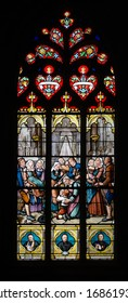 JOSSELIN, FRANCE - 27 AUG: stained glass window in the local church on 27 August 2013