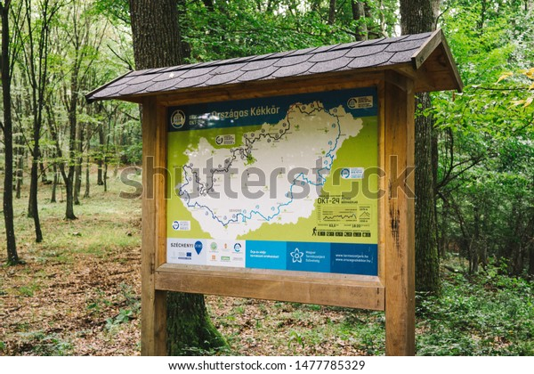 Josvafo / Hungary - 08 03 2019: National Blue Trail sign at Josvafo, Hungary