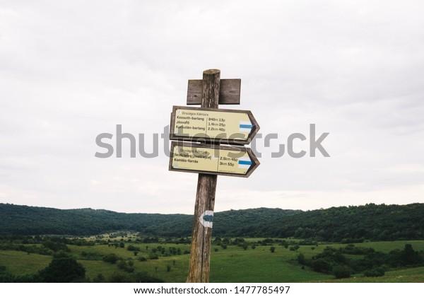 Josvafo / Hungary - 08 03 2019: National Blue Trail sign at Josvafo, Hungary