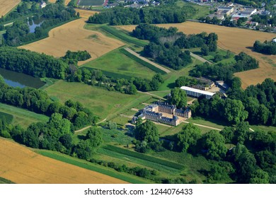 Jouars Ponchartrain, France - july 7 2017 : aerial photography of the classical castle