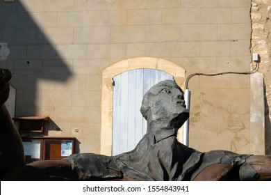 Joucas. Luberon. Provence. France. October 05. 2019. Fragment of space man from wood and metal on village square. France tourism.