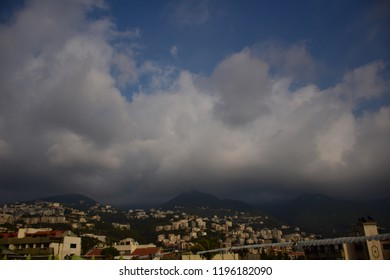 Jounieh CityScape - Houses on mountains infront of the sea in  Lebanon