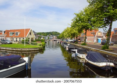Joure, the Netherland - July 12, 2020: Canal in the picturesque Frisian village of Joure.