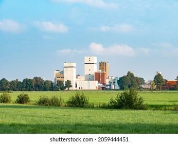 JOURE, NETHERLANDS - SEP 26, 2017: Buildings of Douwe Egberts coffee, tea and tobacco factory in Joure, Friesland