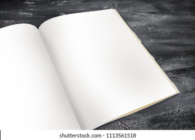 Journal Mock up Template Eco vintage book with empty pages on black wood table background for portfolio design