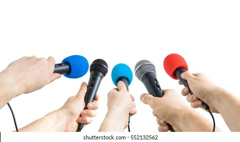 Journalism and conference concept. Many reporter hands hold microphones. Isolated on white background.