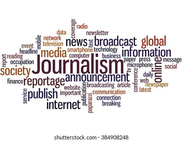 Journalism, word cloud concept on white background.