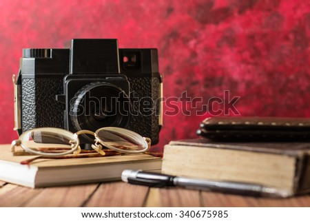 1d0862cfb0f72 Journalist Desk Retro Camera Old Books Stock Photo (Edit Now ...