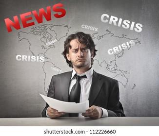 Journalist making expression