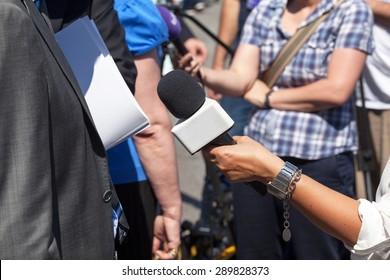 Journalist making interview with businessman